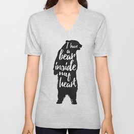 Bear Heart Unisex V-Neck