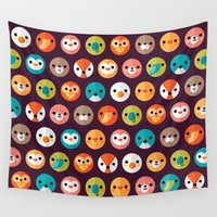 puppy Wall Tapestries featuring SMILEY FACES 1 by Daisy Beatrice