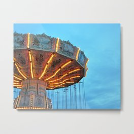 Swing Ride at the Fair at Dusk Metal Print