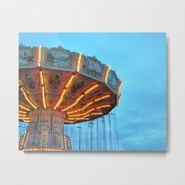 Swing Ride at the Fair at Dusk Metal Print