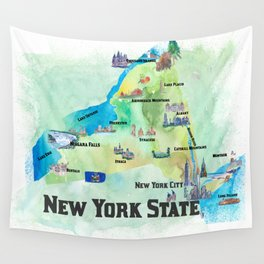 USA New York State Travel Poster Map with tourist highlights Wall Tapestry