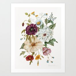 Colorful Wildflower Bouquet on White Art Print