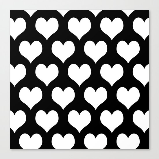 Hearts of Love Black & White Canvas Print