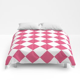 Large Diamonds - White and Dark Pink Comforters