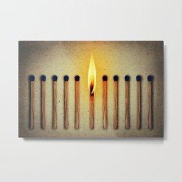 match burning alone Metal Print