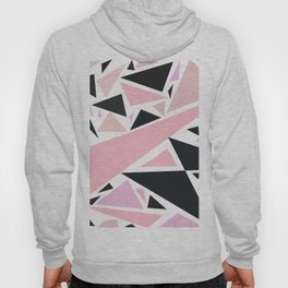 Artistic pink black abstract triangles pattern Hoody