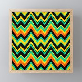 Colorful Chevron With Faux Glitter Texture Look Framed Mini Art Print