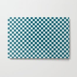 Pale Blue and Tropical Dark Teal Small Checker Board Pattern Inspired by Sherwin Williams 2020 Trending Color Oceanside SW6496 Metal Print