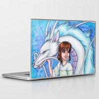 chihiro Laptop & iPad Skins featuring Spirited Away Chihiro and Haku by Kimberly Castello