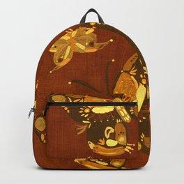 Brown Folk Butterflies Backpack