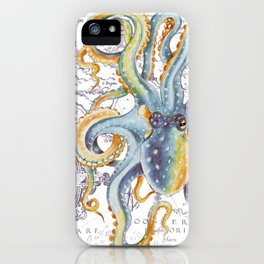 Octopus Steel Blue Vintage Map iPhone Case