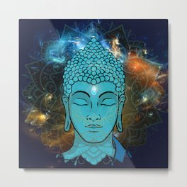 Blue Face of Buddha in the Galaxy Metal Print