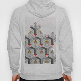 Cubed Pink Abstract Geometric Modern Art Hoody
