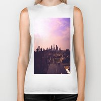cleveland Biker Tanks featuring Cleveland Skyline by Toni Tylicki