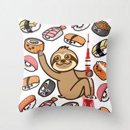 Sloth Sushi Tokyo Throw Pillow