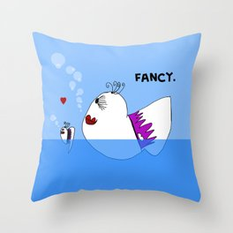 Fancy Ladies Swimming Fish - Art by Child Throw Pillow