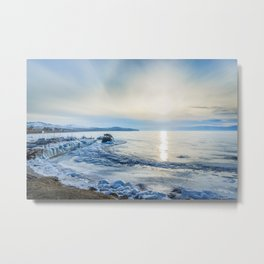 Frozen wharf and Halo Metal Print