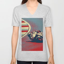 Motogp Inclined Double Traction Ground Red Race Capability Unisex V-Neck
