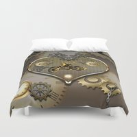 motorcycle Duvet Covers featuring Steampunk, motorcycle  by nicky2342