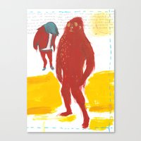 bigfoot Canvas Prints featuring Bigfoot by ellen marie bae