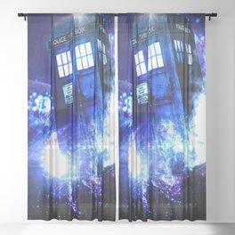 Tardis Background space Sheer Curtain