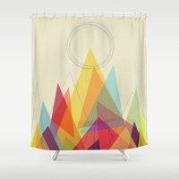 mountain Shower Curtains featuring Holy Mountain by Picomodi