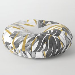 Monstera black and white with golden leaves Floor Pillow