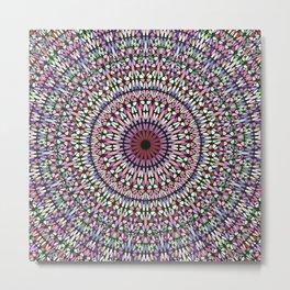 Happy Pastel Gravel Garden Mandala Metal Print