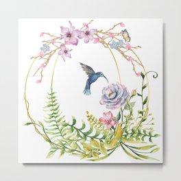 Glittering Golden Floral Hummingbird Terrarium Metal Print