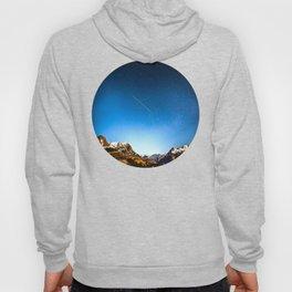 Mid Century Modern Round Circle Photo Minimalist Mountain Range Blue Sky Hoody
