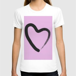Simple Love - Minimalistic simple black love heart brush stroke on a pink background T-shirt