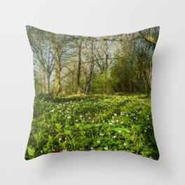 Spring Woodland Flowers Throw Pillow