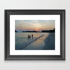 Silhouettes on the Shore Framed Art Print