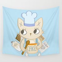 baking Wall Tapestries featuring Cat is baking a Cake by Camart