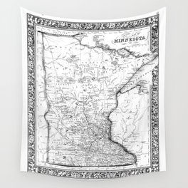 Vintage Map of Minnesota (1864) BW Wall Tapestry