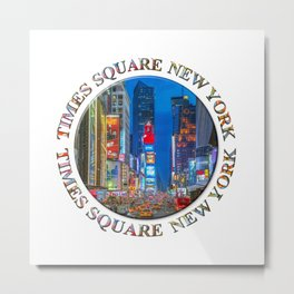 Times Square Broadway (New York Badge Emblem on white) Metal Print