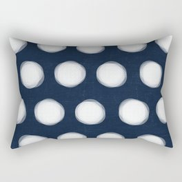 painted polka dots- navy and white Rectangular Pillow