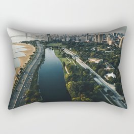 chicago aerial view of the skyline Rectangular Pillow