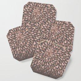 Rosegold - abstract floral elegant pattern on grey background Coaster