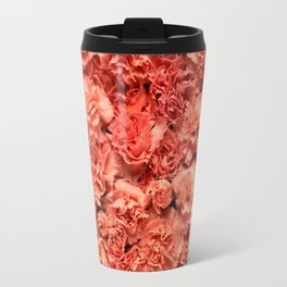 Coral Carnations Travel Mug