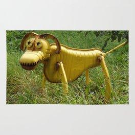 Robot Dog walk Yellow Metal Pet Funny recycling sculpture Trash Art Outdoor photography Rug