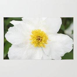 White Krinkled Peony Flower Rug