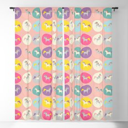 Cute Unicorn polka dots pink pastel colors and linen texture #homedecor #apparel #stationary #kids Blackout Curtain
