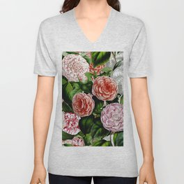 Vintage & Shabby Chic Green Large Dark Floral Camellia  Flowers Watercolor Pattern Unisex V-Neck