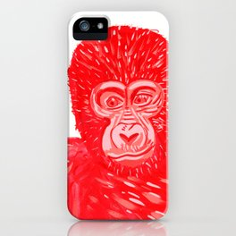 Red Baby Gorilla Gouache Painting iPhone Case