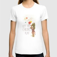 Let the children play White Womens Fitted Tee SMALL