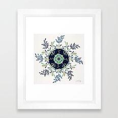 Leaf Mandala – Navy & Mint Palette Framed Art Print