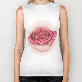 Lips withe Pink Rose - by Greta Darets Biker Tank