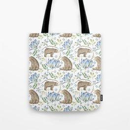 Bears in Blue Flowers Tote Bag