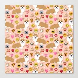 Corgi welsh corgi emoji pattern cute funny dog gifts emojis with corgis Canvas Print